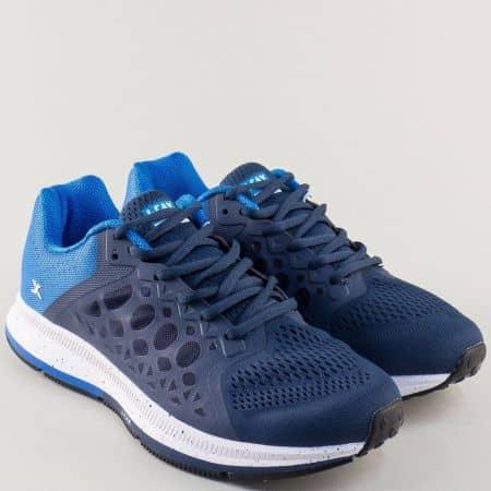 Сини мъжки маратонки Knup на равно ходило с връзки 323913-45s