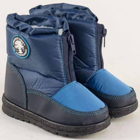 Сини детски апрески на комфортно ходило с цип 324002s