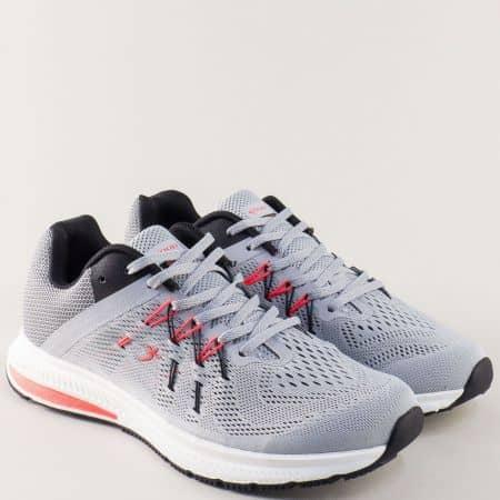 Спортни мъжки обувки Knup в сиво с връзки 32481-45sv