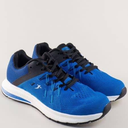 Сини мъжки маратонки на равно ходило с връзки 32482-45s