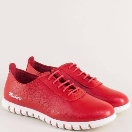 Червени дамски обувки на комфортно и равно ходило 325005chv