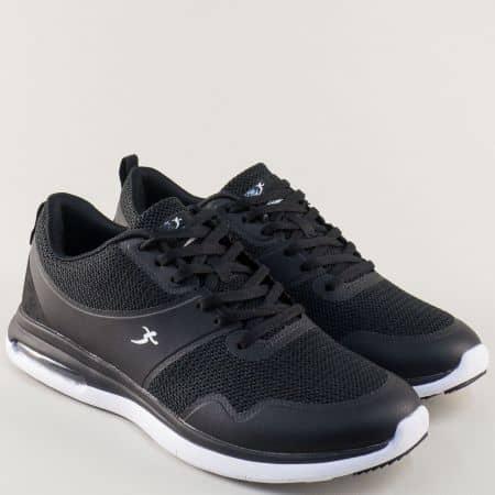 Мъжки маратонки с връзки на комфортно ходило в черно 32511-45ch