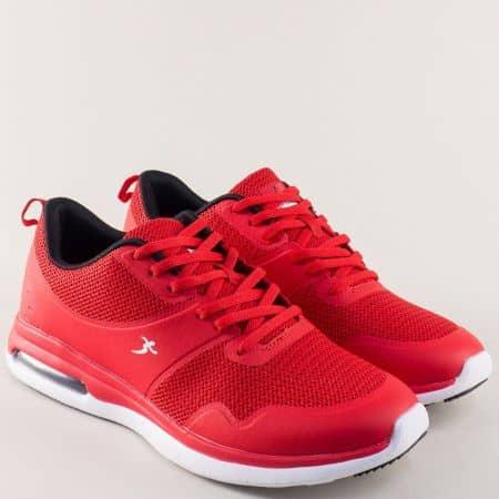 Мъжки маратонки Knup с връзки на удобно ходило в червено 32515-45chv