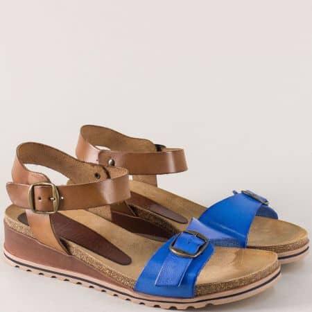 Испански дамски сандали от естествена кожа в син и тъмно кафяв цвят на платформа 3254s