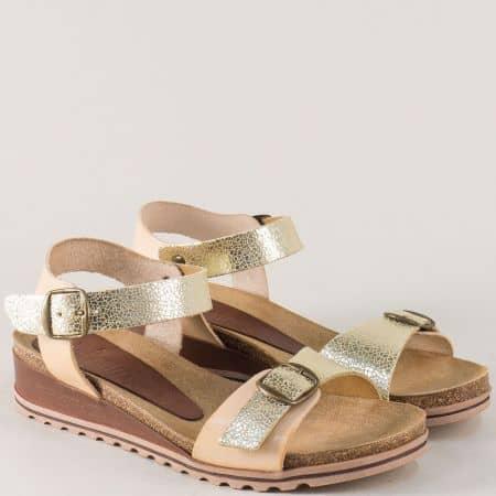 Златни дамски сандали на платформа от естествена кожа 3254zl