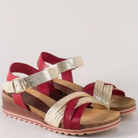 Кожени дамски сандали в злато и червено- Valeria's 3255chv
