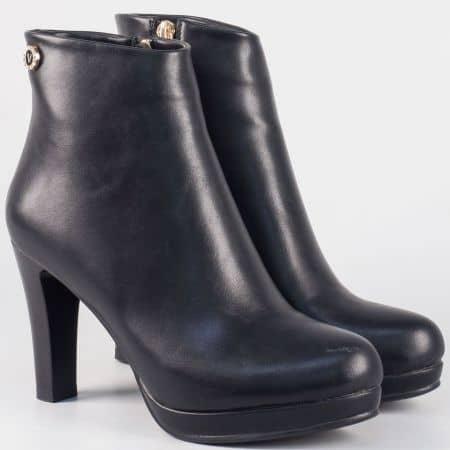Елегантни дамски боти на висок ток- Eliza в черен цвят 32905ch