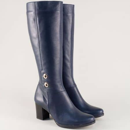 Сини дамски ботуши от естествена кожа на среден ток 330061s