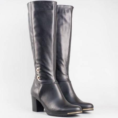 Дамски ботуши в черен цвят с изчистена визия, изработени от естествена кожа 33006ch