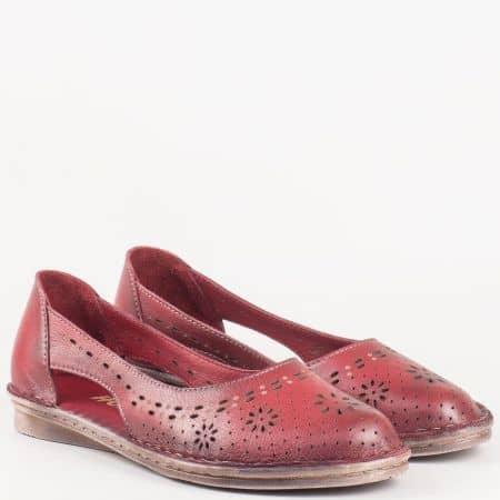 Ежедневни дамски обувки в цвят бордо от естествена кожа на удобно ходило 3327bd