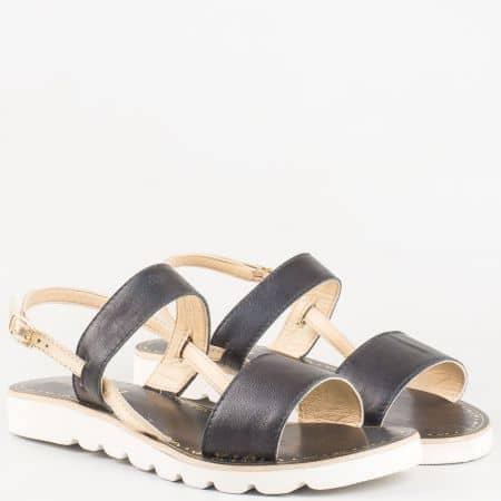 Черни дамски сандали от естествена кожа изцяло- Lazamani със златисти елеминти 33564ch