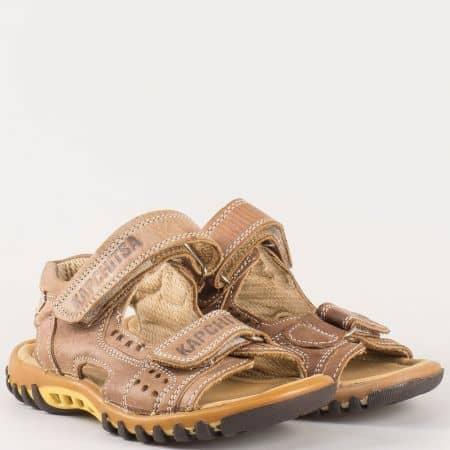 Детски сандали изработени от висококачествена естествена кожа, включително и ортопедичната стелка на български производител в кафяво 34102280k