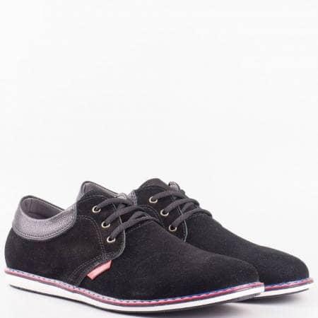Мъжки ежедневни обувки от висококачествен естествен велур и кожа на известен български производител в черен цвят 34410vch