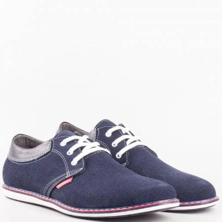 Мъжки спортно-елегантни обувки в комбинация от естествен велур и кожа на български производител в син цвят 34410vs