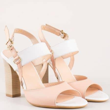 Стилни розови дамски сандали на висок ток с акценти в бяло 34514147rz