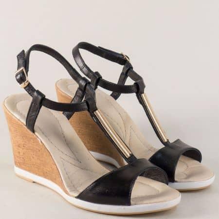 Черни дамски сандали на клин ходило с кожена стелка 34608ch