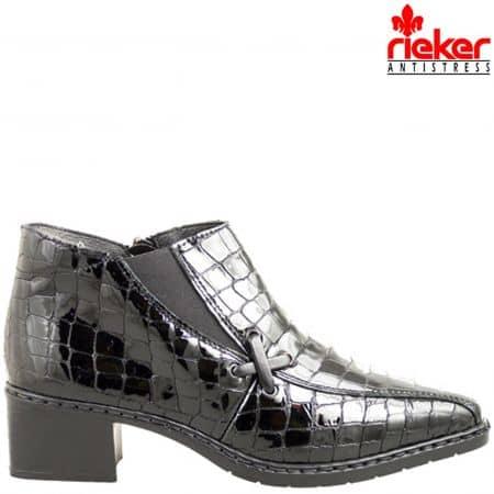 Меки и удобни дамски боти Rieker-Antistress с ластик и цип, изработени от висококачествен лак с кроко мотиви 3480klch