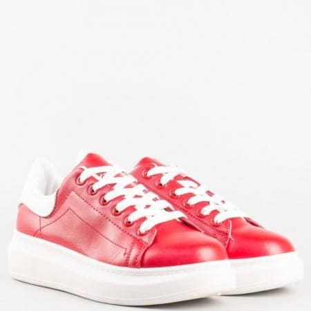 Дамски спортни обувки с връзки на комфортно ходило в червен цвят на български производител 35-40chv