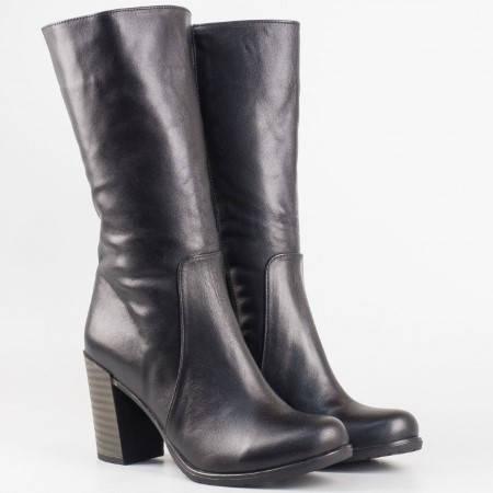 Дамски ежедневни ботуши на висок стабилен ток със сая от висококачествена естествена кожа в черен цвят 3500ch
