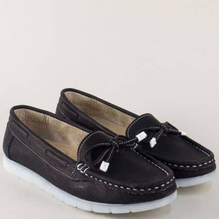 Равни дамски обувки в черен цвят с панделка 3503ch