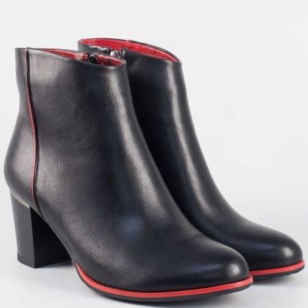 Дамски актуални боти на висок ток- Eliza в черно и червено 351896ch