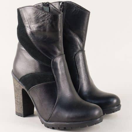 Черни дамски боти от естествена кожа и велур на висок ток 35vch