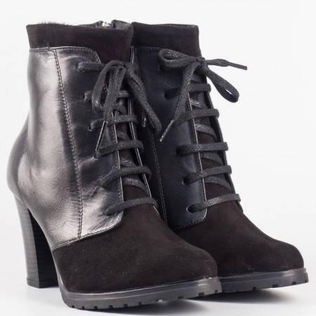 Дамски интересни боти в комбинация от естествен велур и кожа на утвърден български производител в черен цвят 36108chvch