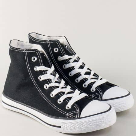 Дамски кецове на равно ходило в черен цвят 3667-40ch
