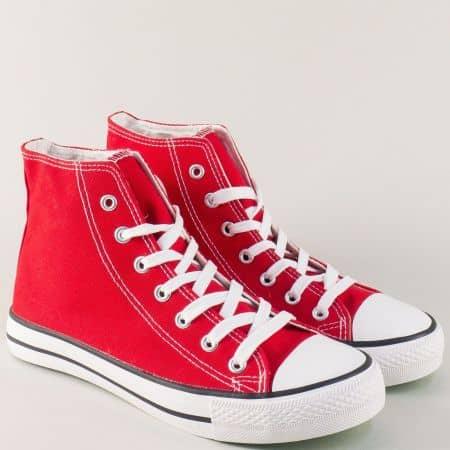 Ежедневни дамски кецове в червен цвят на комфортно равно ходило 3667-40chv
