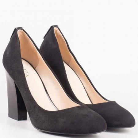 Дамски обувки на висок ток в черен цвят 372vch