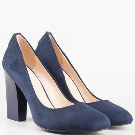 Дамски сини обувки с кожена стелка на висок стабилен ток и метален елемент на петата 372vs
