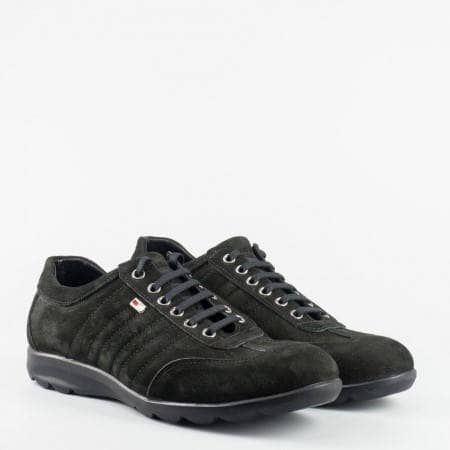 Ежедневни спортно елегантни мъжки обувки от черен набук 373nch