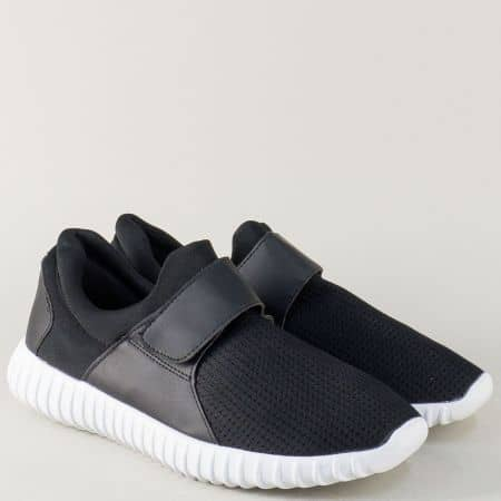 Спортни мъжки обувки с лепка в черен цвят 37ch