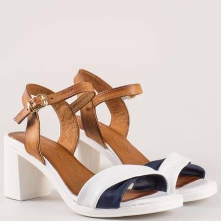 Дамски бели сандали на висок ток изцяло от естествена кожа 3812b