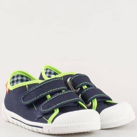 Комфортни детски кецове в синьо и зелено с кожена стелка и две лепки- MONETA 383111ts