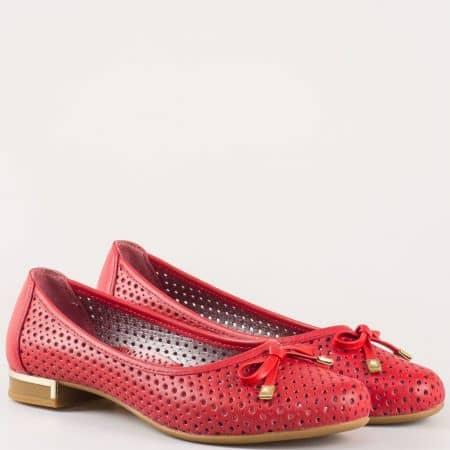 Червени дамски обувки на нисък ток, тип балерини  39257chv
