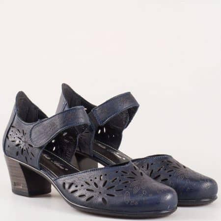 Сини дамски обувки на среден ток с кожена стелка 403867s