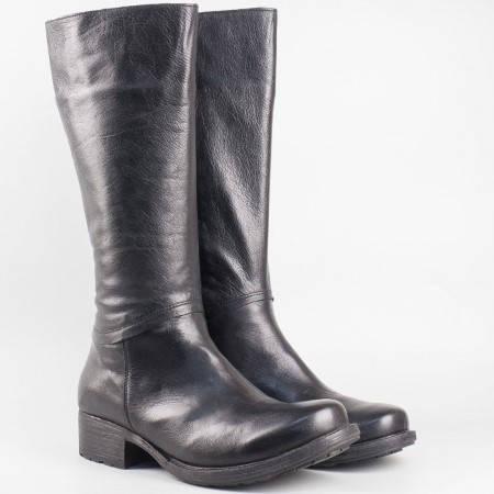 Дамски ботуши за всеки ден на удобно ходило от висококачествена естествена кожа на български производител в черен цвят 40400318ch
