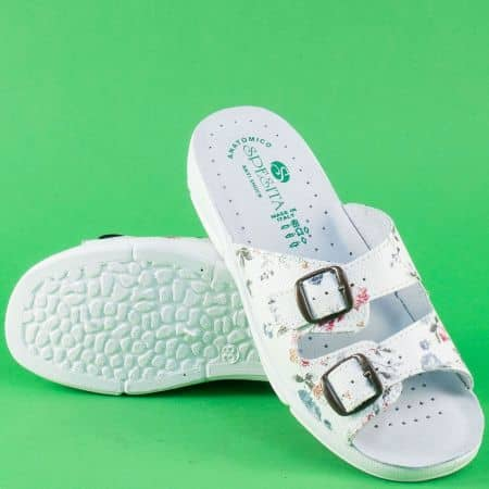 Български дамски чехли от бяла естествена кожа с принт 404ps