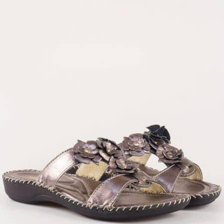 Комфортни сиви дамски чехли GLAMOURELLA на равно ходило 4056brz