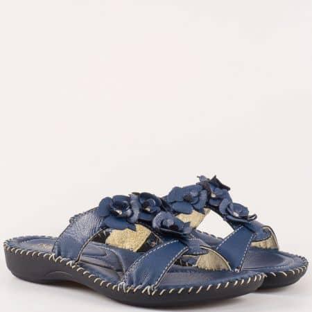 Комфортни сини дамски чехли Glamourella 4056s