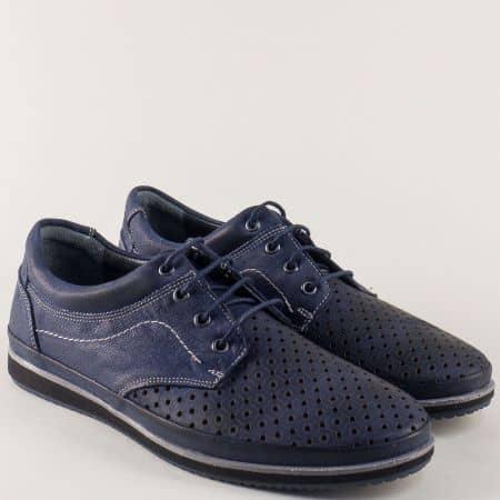 Кожени мъжки обувки в синьо с перфорация и връзки 407s