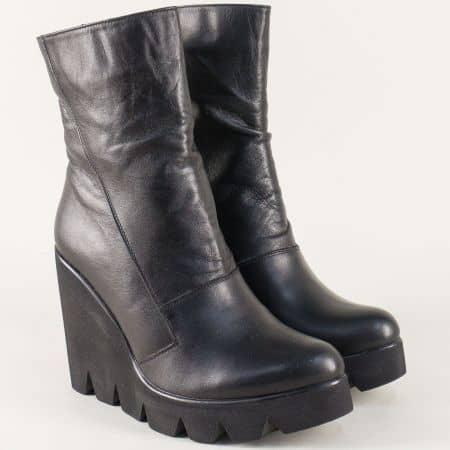 Дамски стилни боти от естествена кожа на висока платформа в черен цвят 408598ch