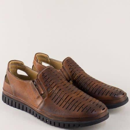 Тъмно кафяви мъжки обувки от естествена кожа на равно ходило 411kk