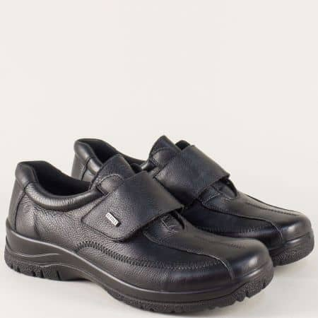 Дамски обувки на платформа от черна естествена кожа 4178ch
