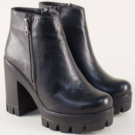 Черни дамски боти от естествена кожа на висок ток и платформа 418156ch