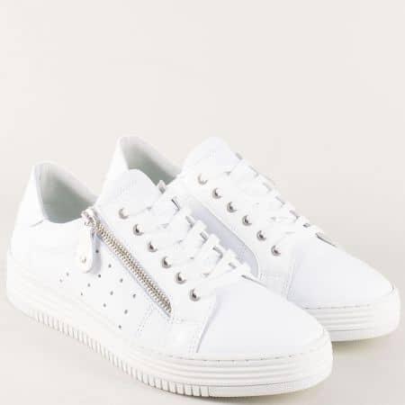 Дамски спортни обувки от бяла естествена кожа 420003b