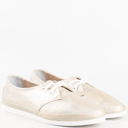Дамски спортно-елегантни обувки изроботени изцяло от естествена кожа в златно 4226110zl