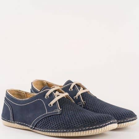 Мъжки удобни обувки за всеки ден с перфорация изработени от 100% естествен набук в син и бежов цвят 424821ns
