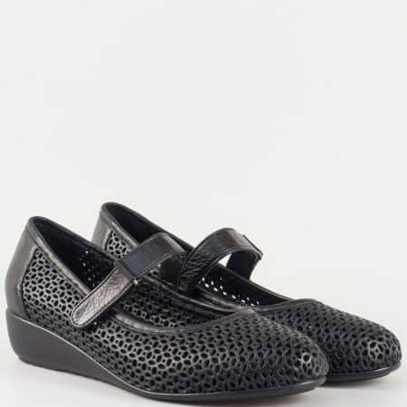 Дамски комфортни обувки за всеки ден изработени от изцяло естествена кожа в черен цвят 4348ch